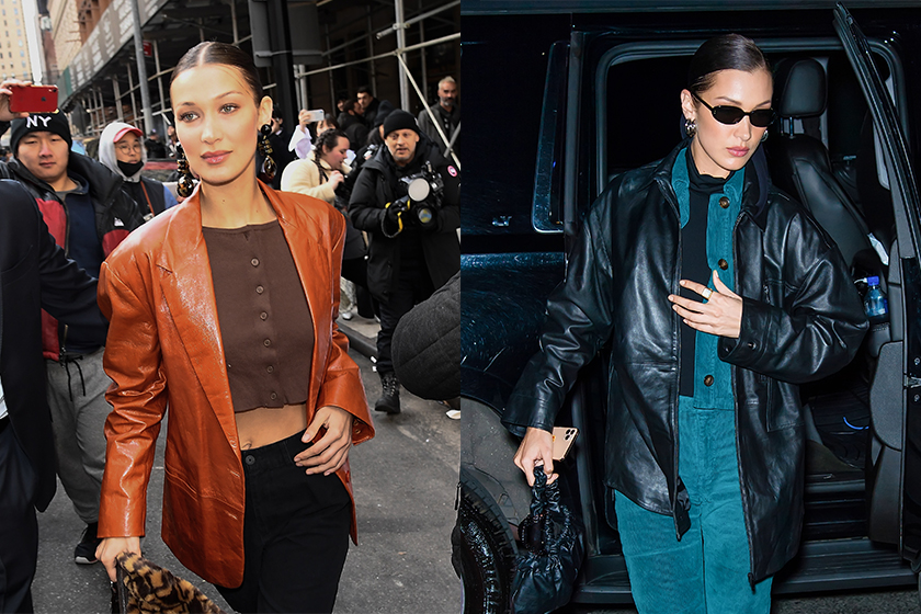 bella-hadid off duty Style Leather Jacket