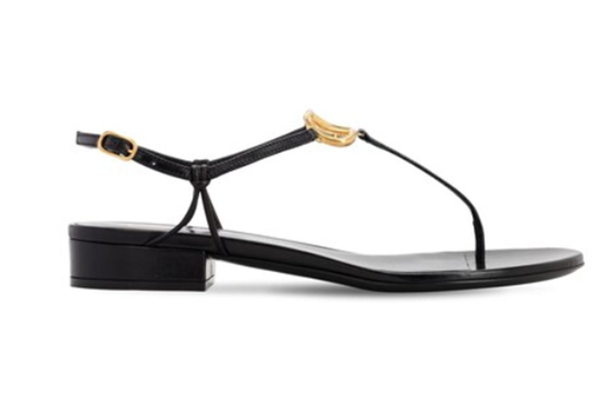 20mm Vlogo Leather Thongs Sandals