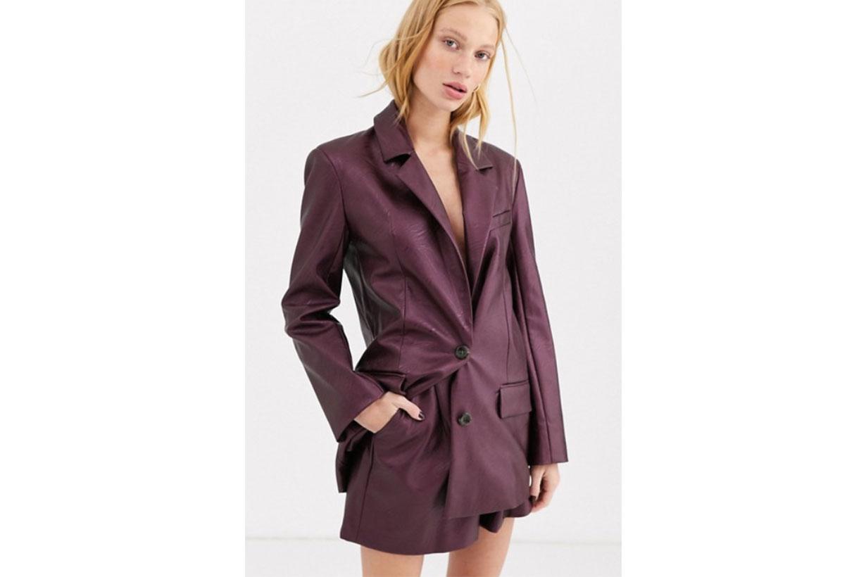 ASOS DESIGN Leather Look Suit Blazer in Purple