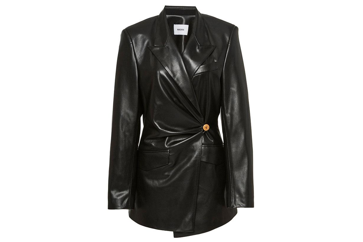 Blair Ruched Leather Blazer