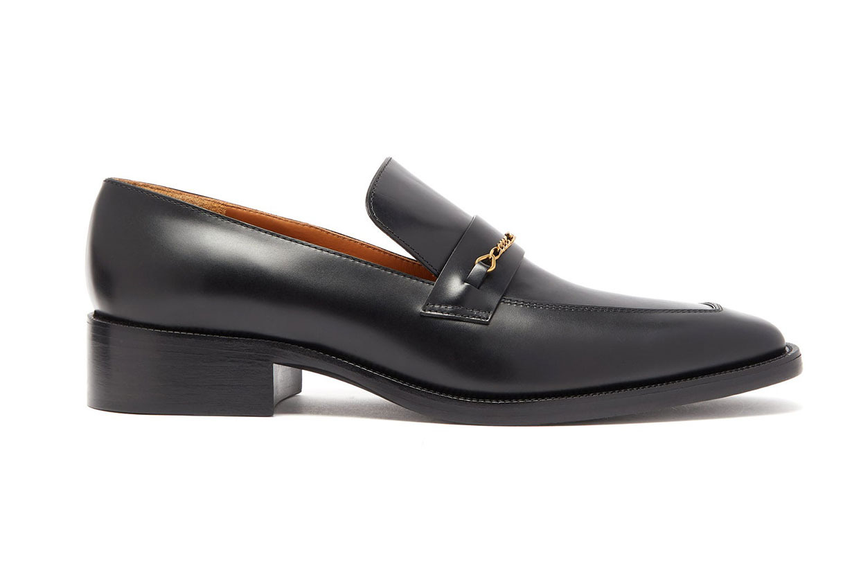 Chain-embellished Square-toe Leather Loafers