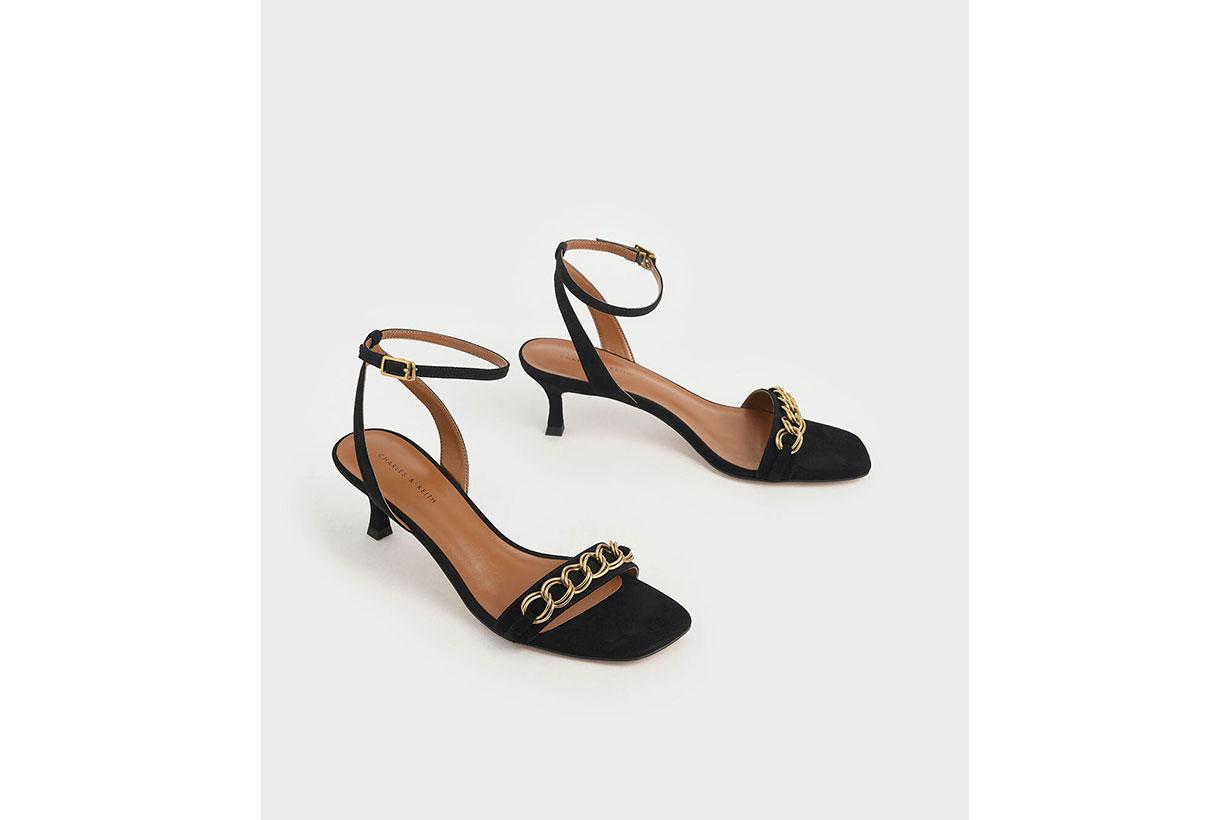 Chain Link Kitten Heel Sandals