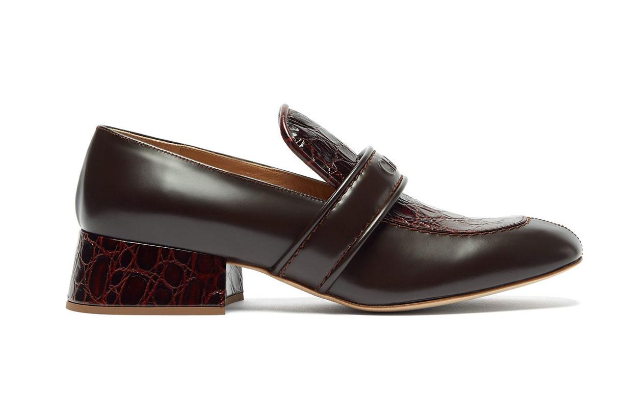 Cheryl Crocodile-effect Leather Heeled Loafers