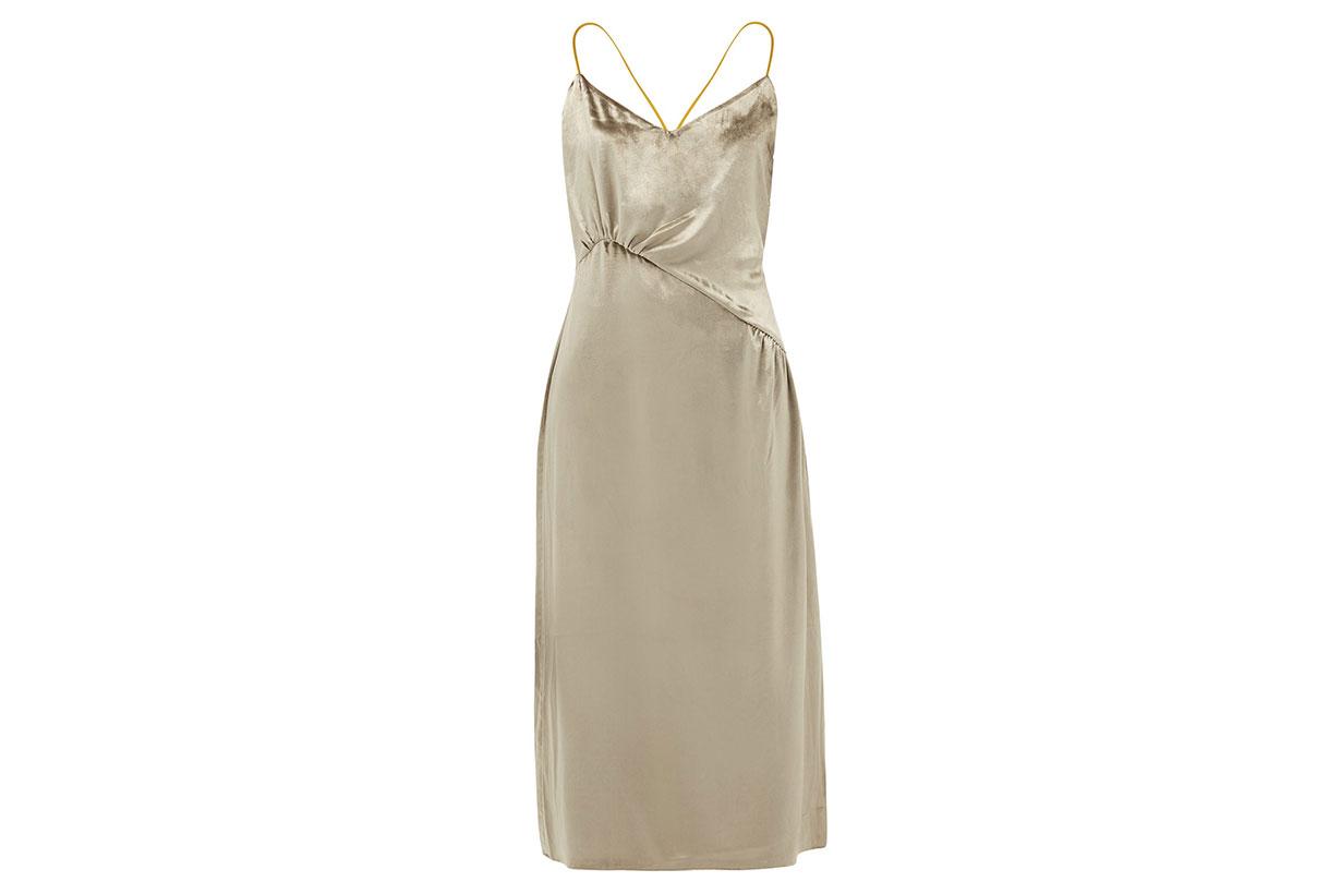 Christie gathered velvet midi dress