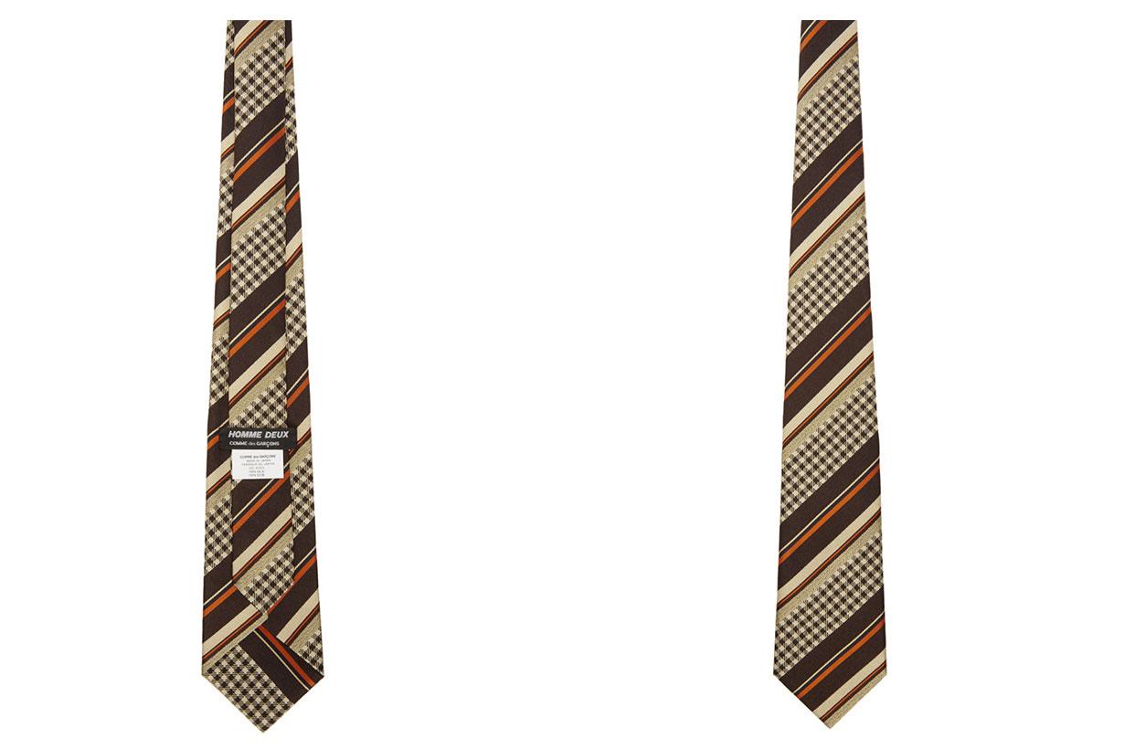 Comme des Garçons Homme Deux Brown & Beige Striped Tie