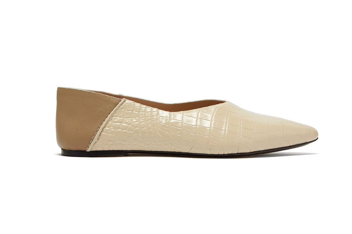 Crocodile-effect Lather Collapsible-heel Flats