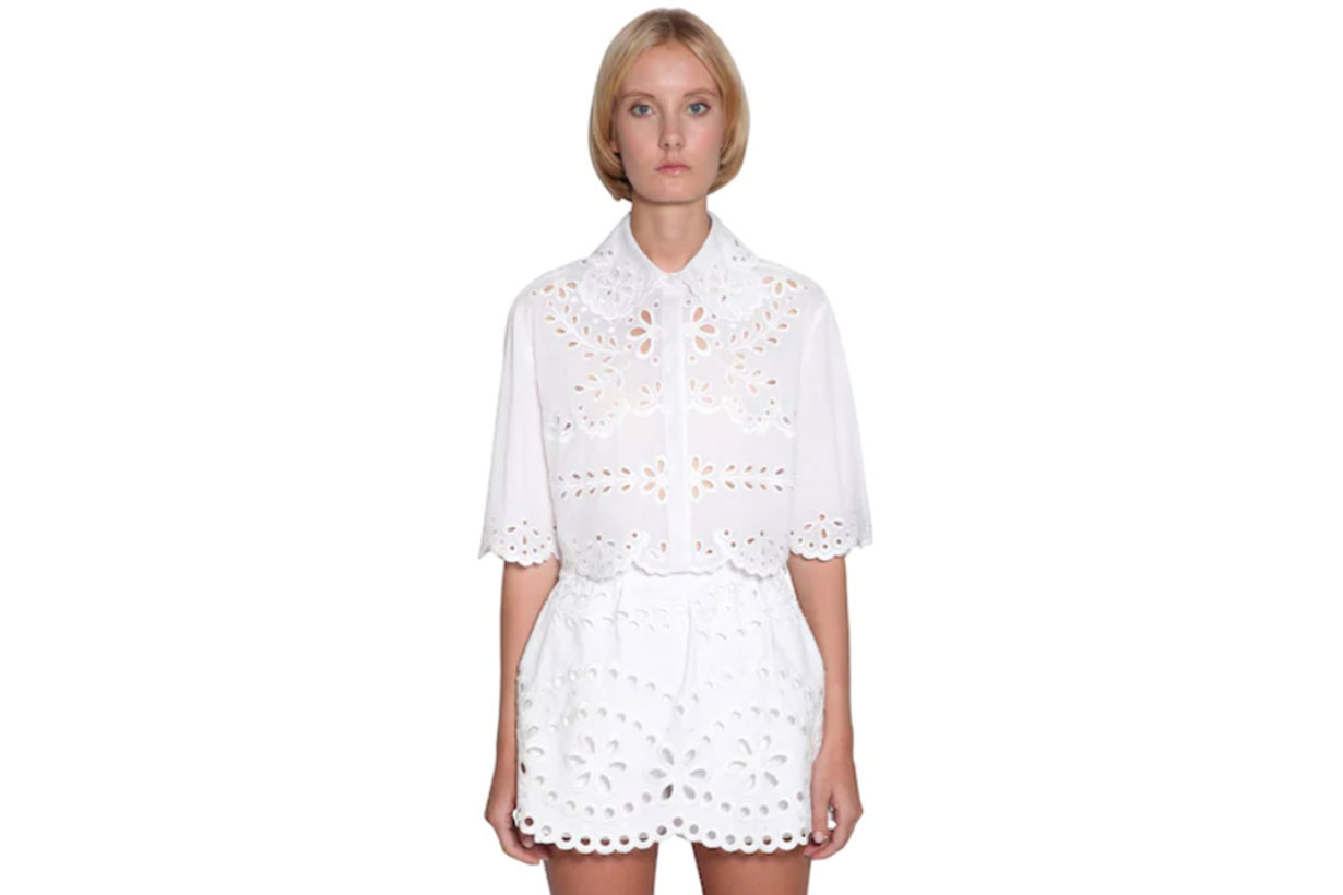 Cropped Cotton Eyelet Lace Shirt