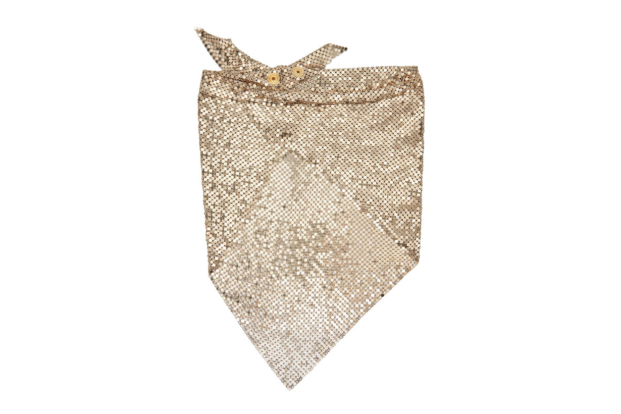 Crystal-embellished Chainmail Mesh Triangle Scarf