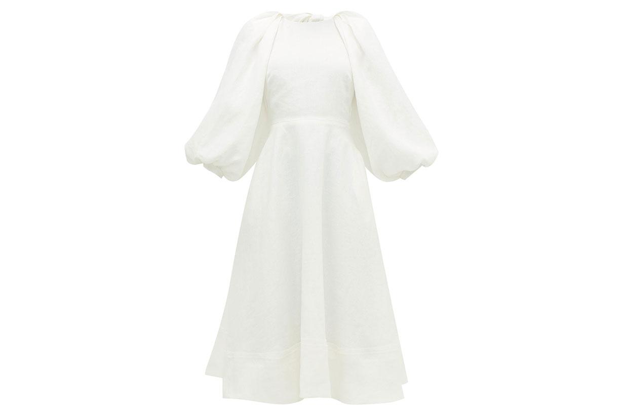 Cut-out balloon-sleeve hemp midi dress