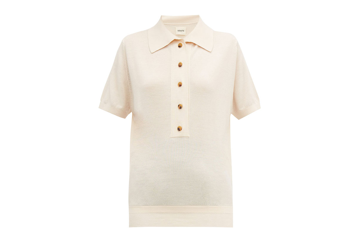 Enzo Button-down Wool-blend Polo Shirt