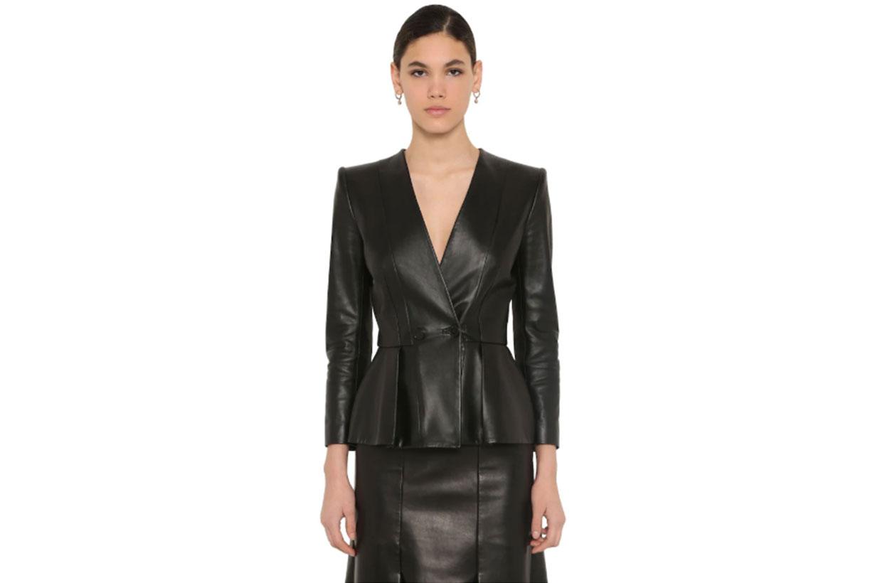 Flared Nappa Leather Jacket