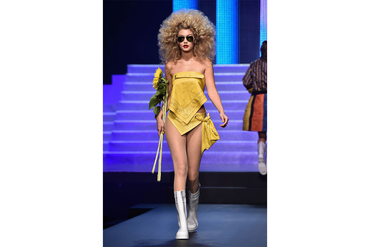 Model Gigi Hadid walks the runway during the Jean Paul Gaultier show as part of the Paris Fashion Week Womenswear Spring/Summer 2015 on September 27, 2014 in Paris, France.
