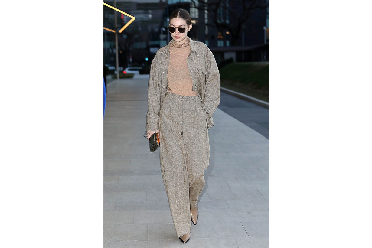 Gigi Hadid is seen during Milan Fashion Week Fall/Winter 2020-2021 on February 19, 2020 in Milan, Italy.