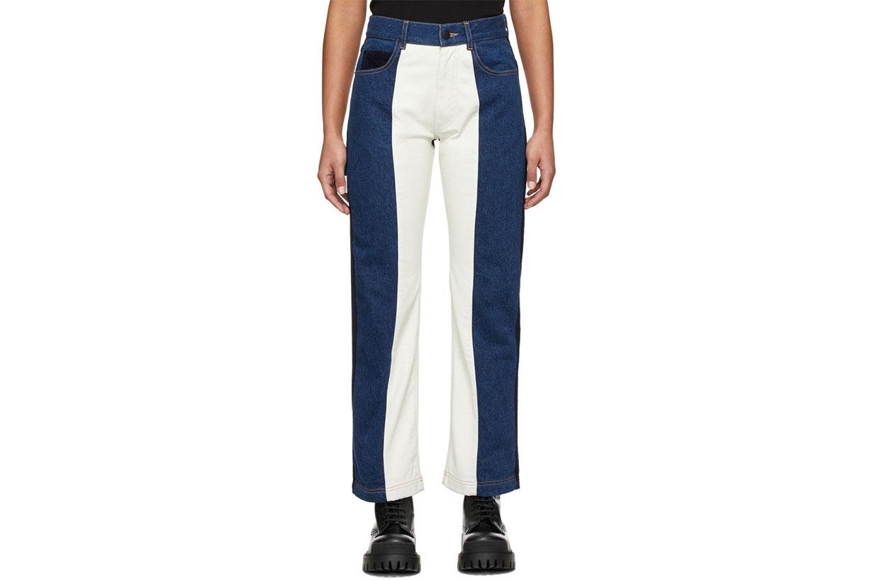 GR-Uniforma Blue & White Patchwork Jeans