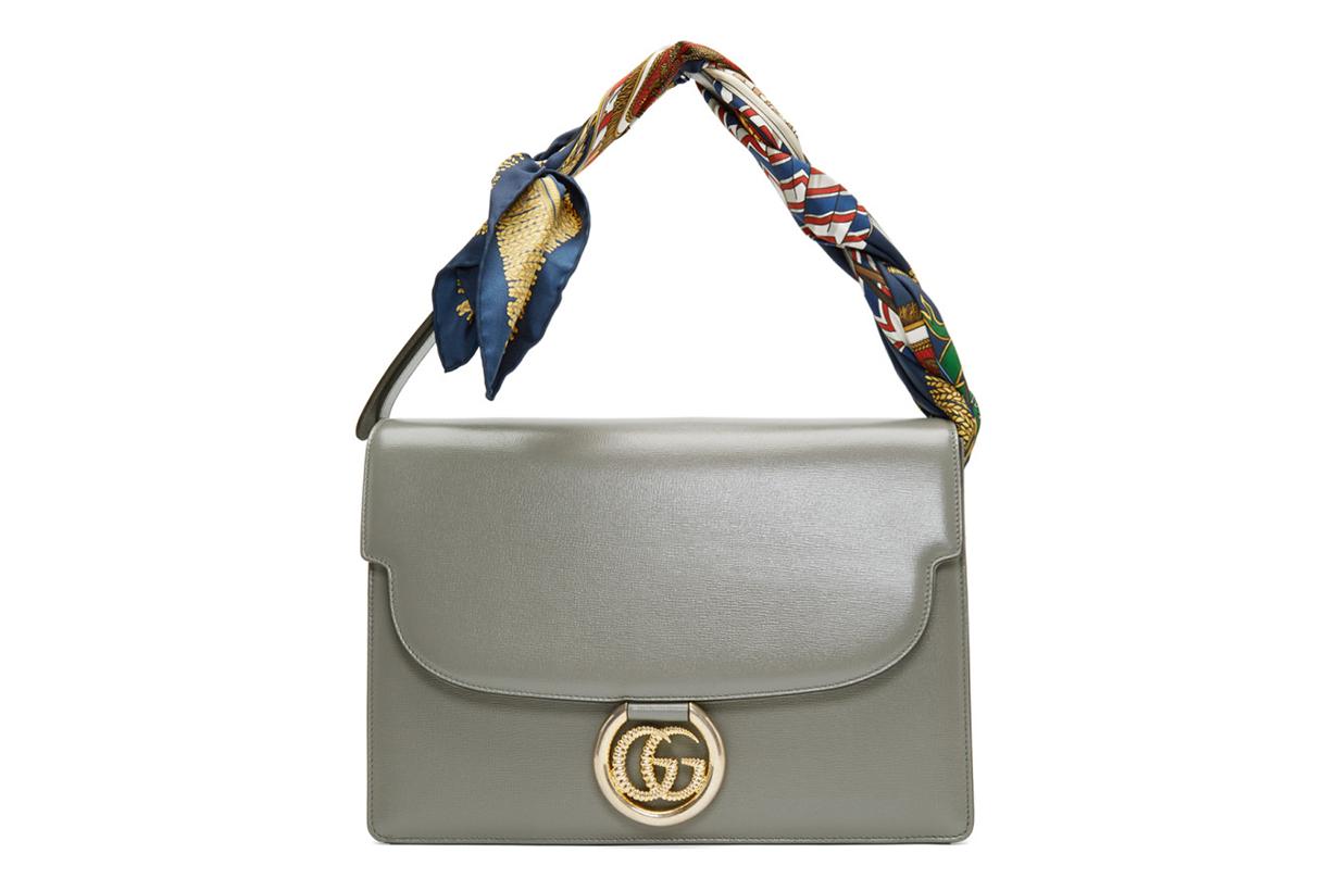 Gucci Grey Medium GG Ring Scarf Shoulder Bag