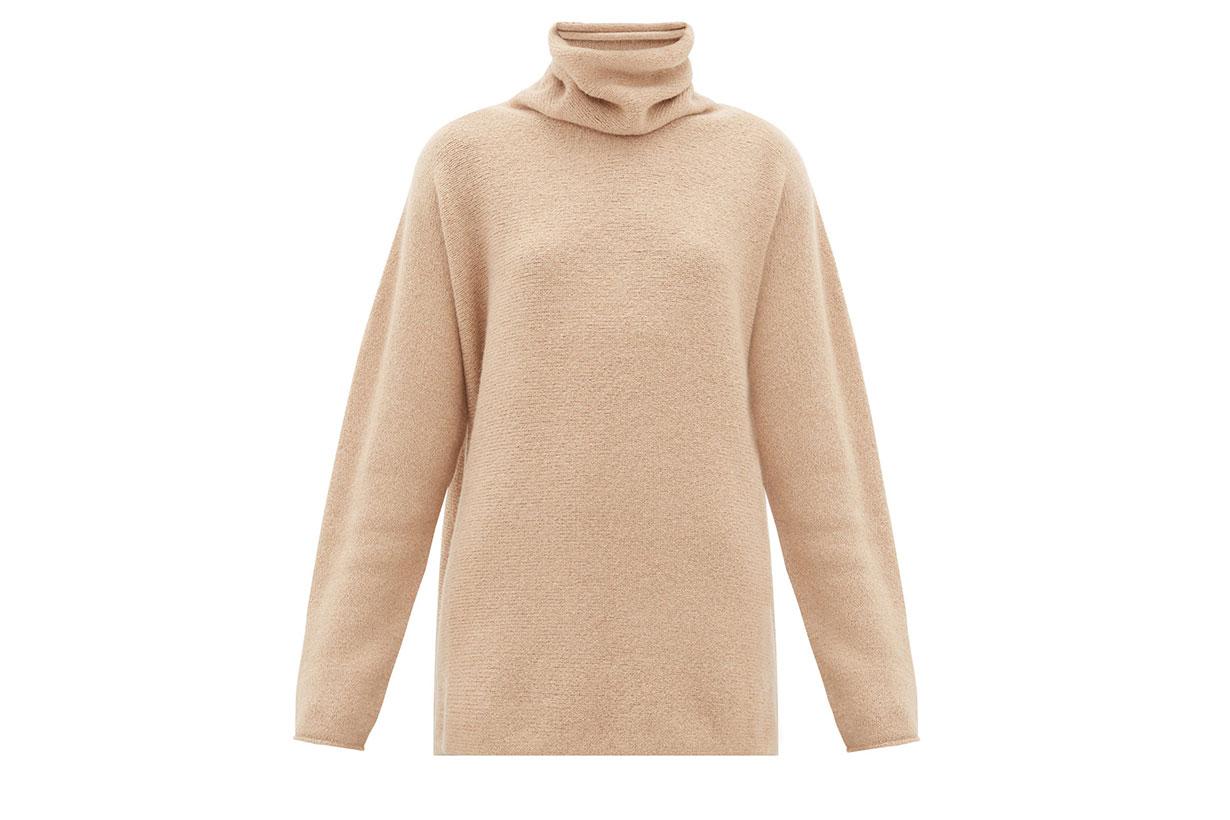 Horizontal Cowl-neck Baby-alpaca Sweater