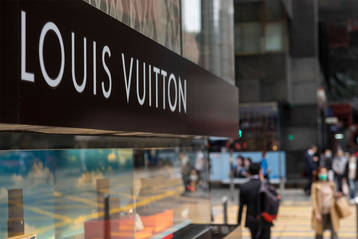 French luxury fashion brand Louis Vuitton store and logo seen in Hong Kong.