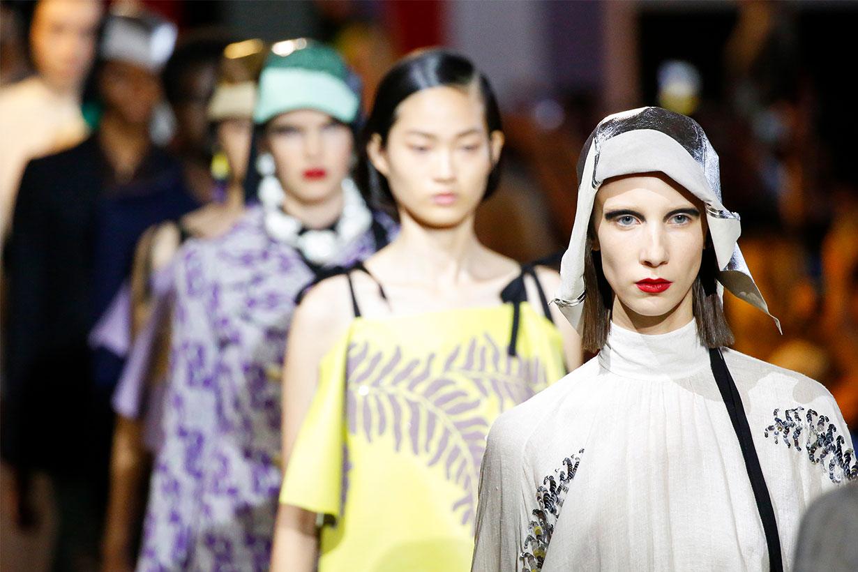 Headshot at the runway at the Prada show during the Milan Fashion Week Spring/Summer 2020 on September 18, 2019 in Fondazione Prada in Milan, Italy.