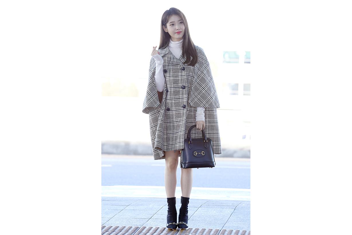 IU Lee Ji Eun Milan Fashion Week 2020 Fall Winter Gucci Cape Horse Bit Handbag High Heel Boots Airport fashion style celebrities style korean idols celebrities singers actresses