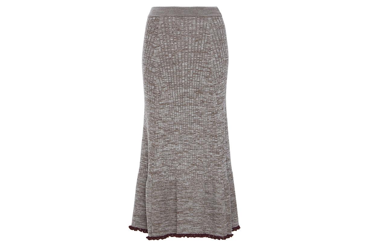 Jil Sander Accent Hem Wool-Blend Skirt