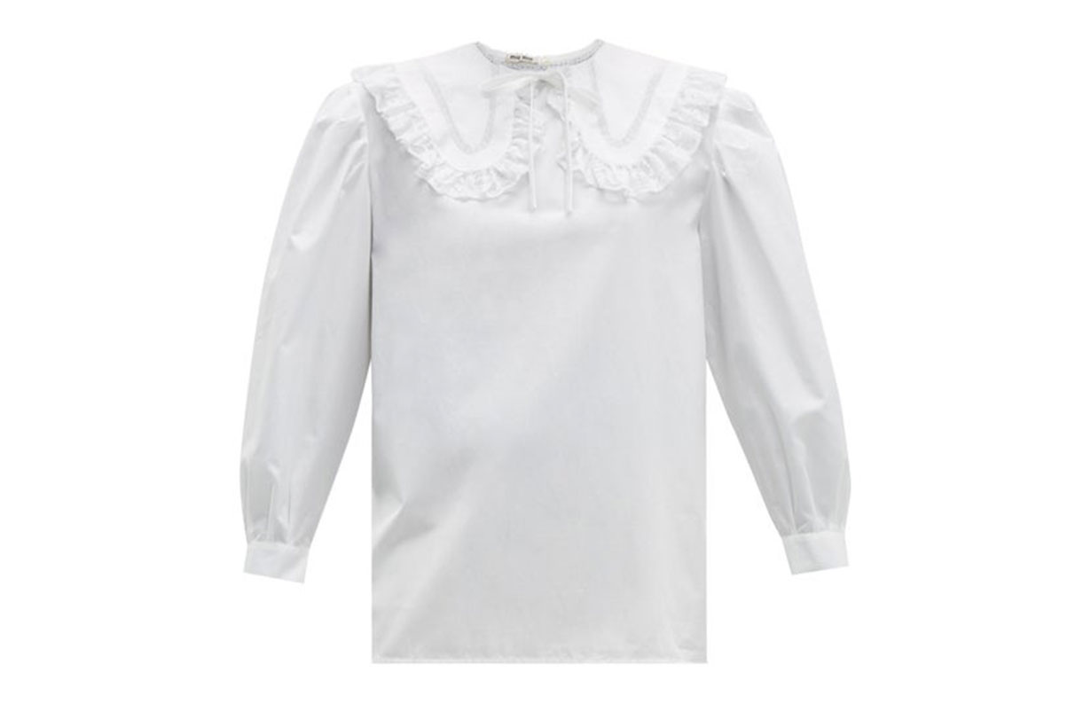 Lace-trimmed Collar Cotton Blouse