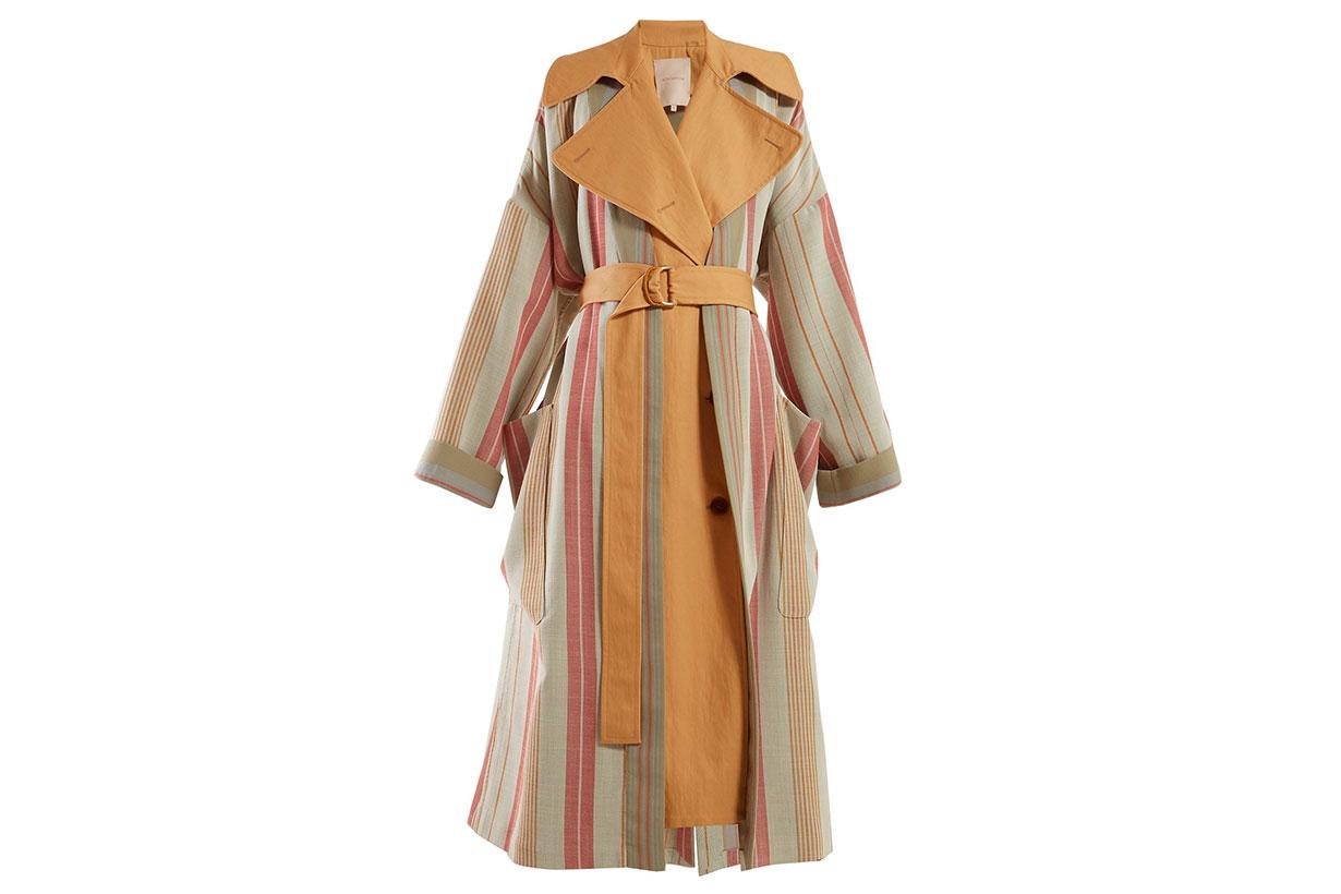 Lennix Striped Cotton-blend Trench Coat