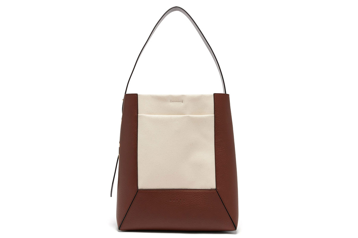Medium Cracked-leather and Canvas Tote Bag
