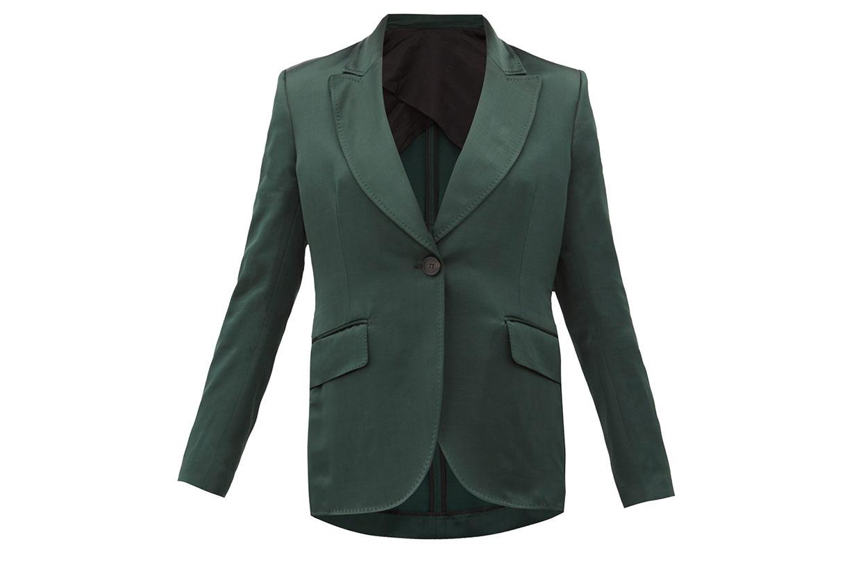 Metta single-breasted satin jacket