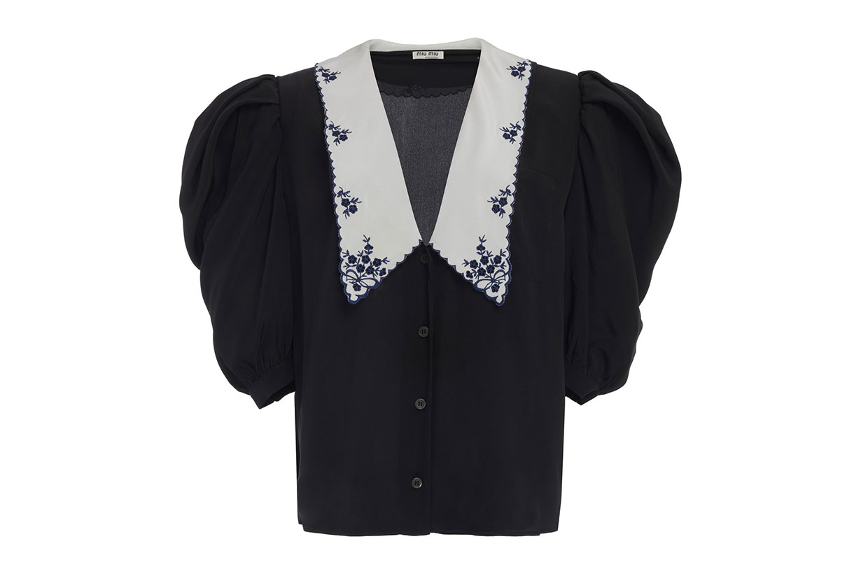 Miu Miu Collared V-Neck Silk Top