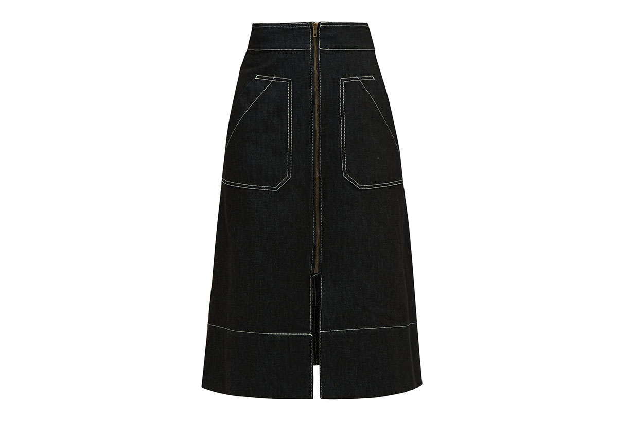 Oak A-line denim midi skirt
