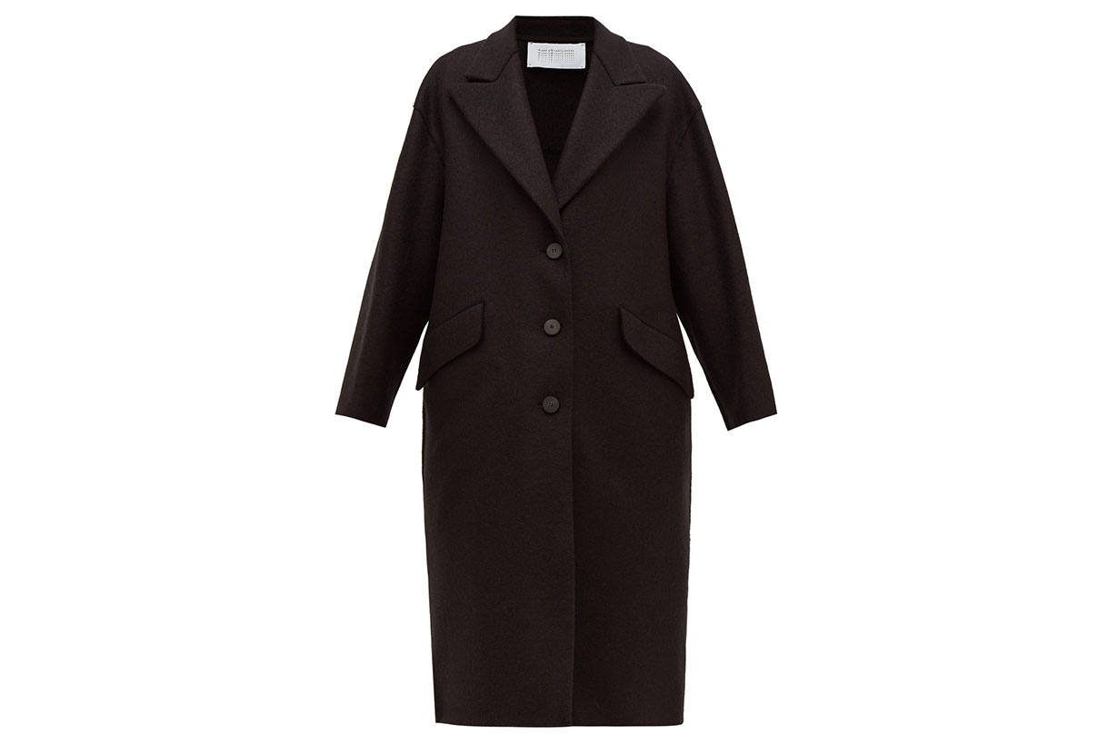 Oversized Single-breasted Pressed Wool Coat