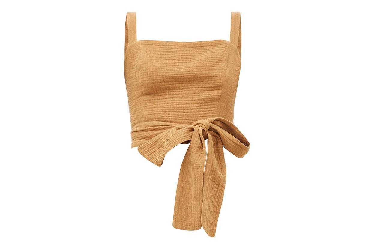 Pilos Cotton Wrap Crop Top