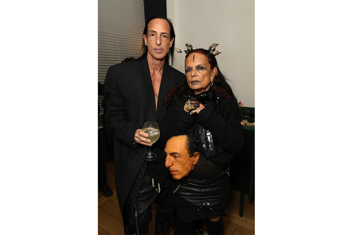 Rick Owens and Michele Lamy attend a dinner in Paris to celebrate 10 years of AnOther 13 hosted by Jefferson Hack, Susannah Frankel Le Labo and AnOther Magazine on February 27, 2020 in Paris, France.
