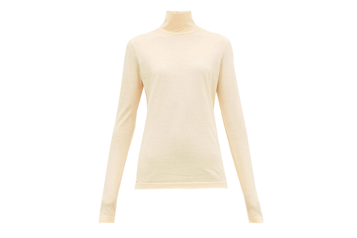 Roll-neck Cotton-jersey Top