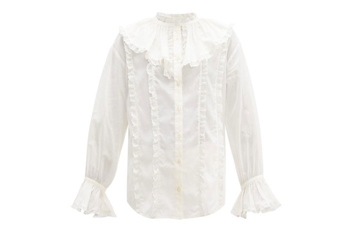 Ruffled-collar Lace and Cotton Blouse