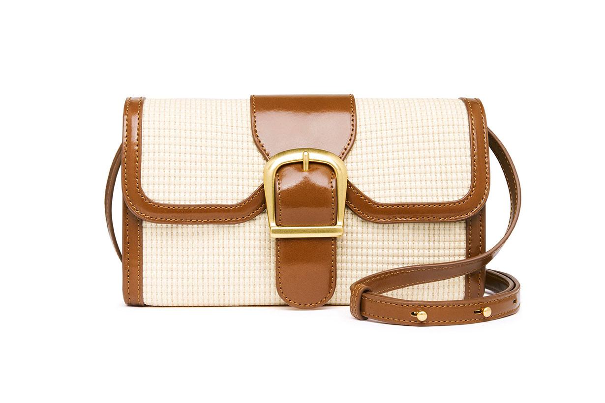 Rylan Update Small Leather-Trimmed Rattan Shoulder Bag