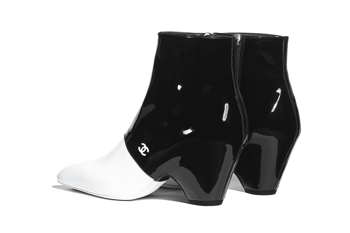 chanel trend boots two tone black and white