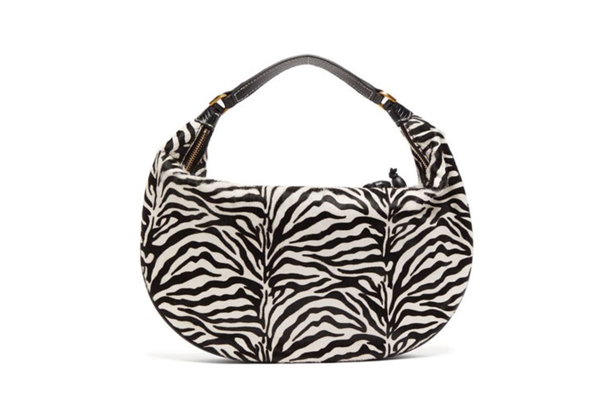 Sasha Zebra-stripe Calf-hair Leather Bag