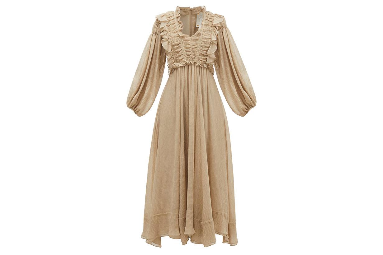 Spirit ruffled crinkled-voile midi dress