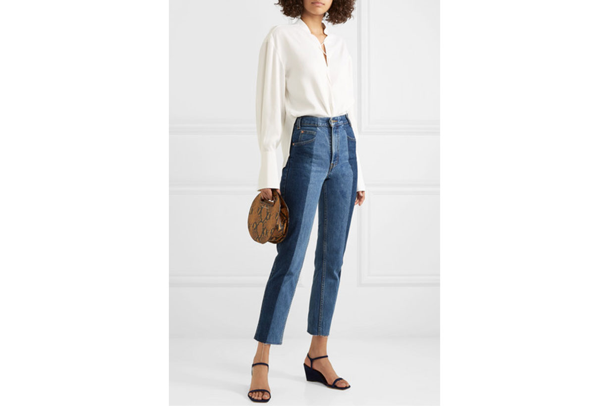 The Twin Frayed Two-tone High-rise Straight-leg Jeans
