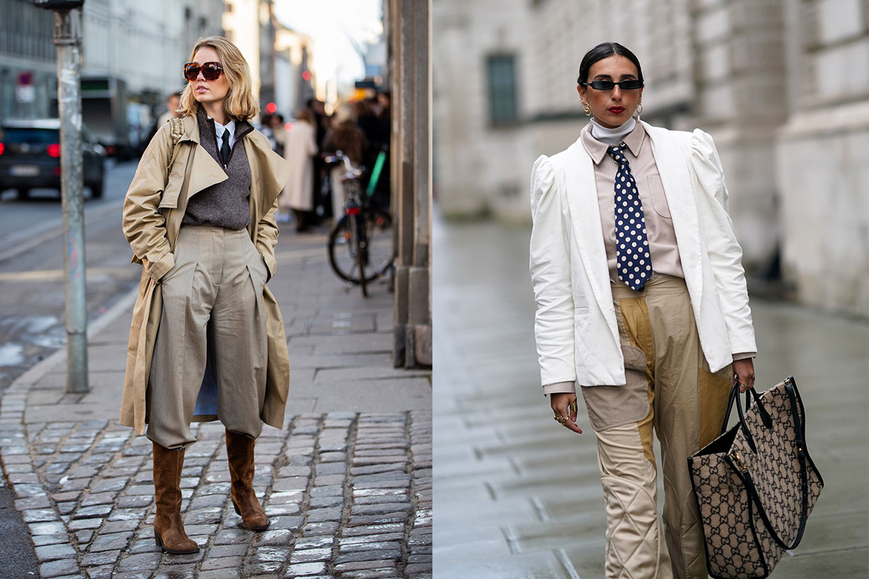 Tie with Blazer and Coat Fashion Week Street Style 2020