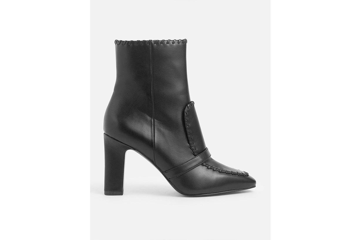 Tweed Whipstitch Trim Calf Boots