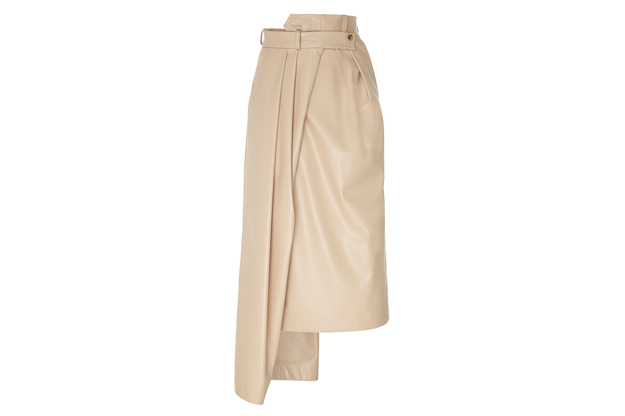 A.W.A.K.E. MODE Asymmetric Leather Midi Skirt
