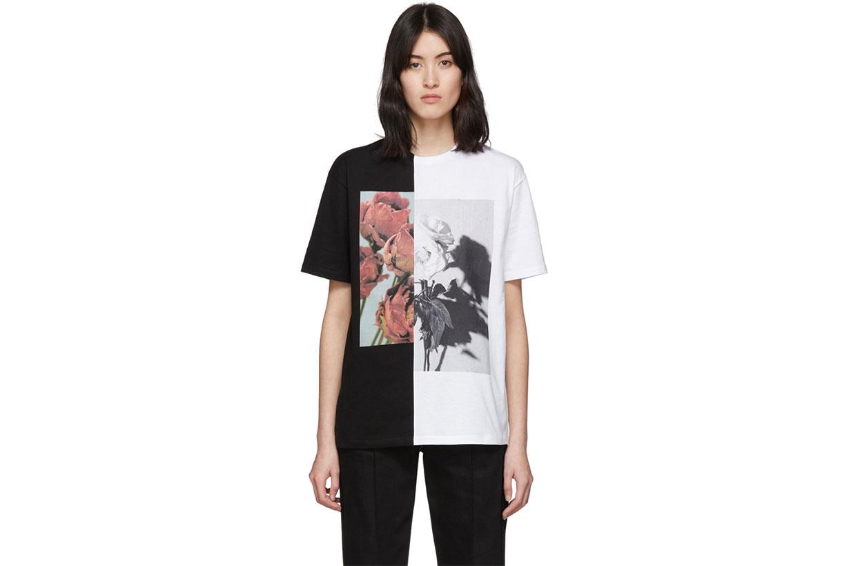 Alexander McQueen White & Black Oversized Hybrid Floral T-Shirt