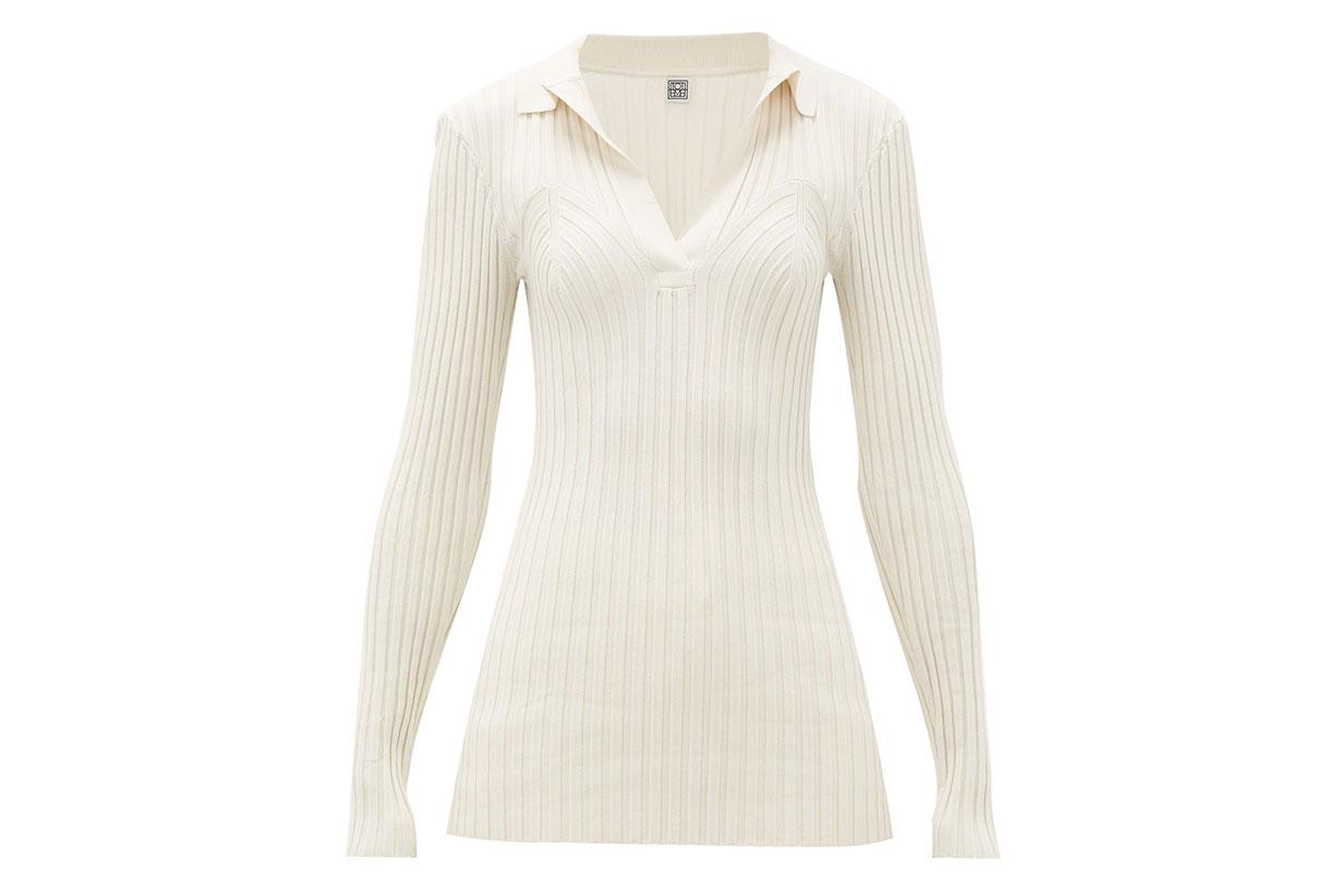 Arradon Ribbed-knit Rayon-blend Top