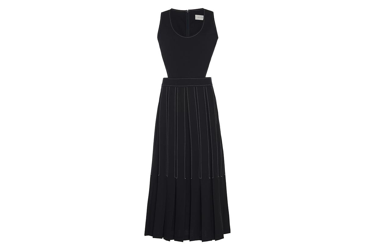 Cutout Pleated Wool-Blend Midi Dress