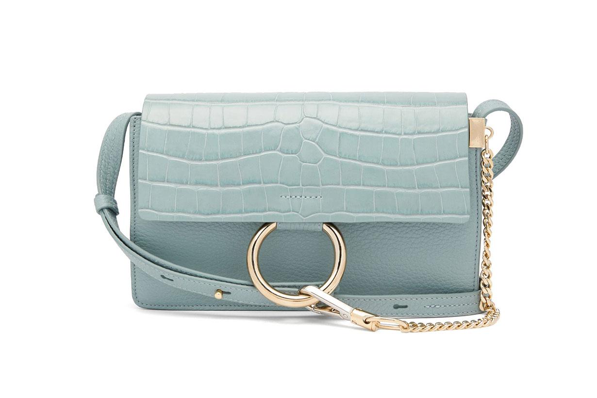 Faye small crocodile-effect leather shoulder bag
