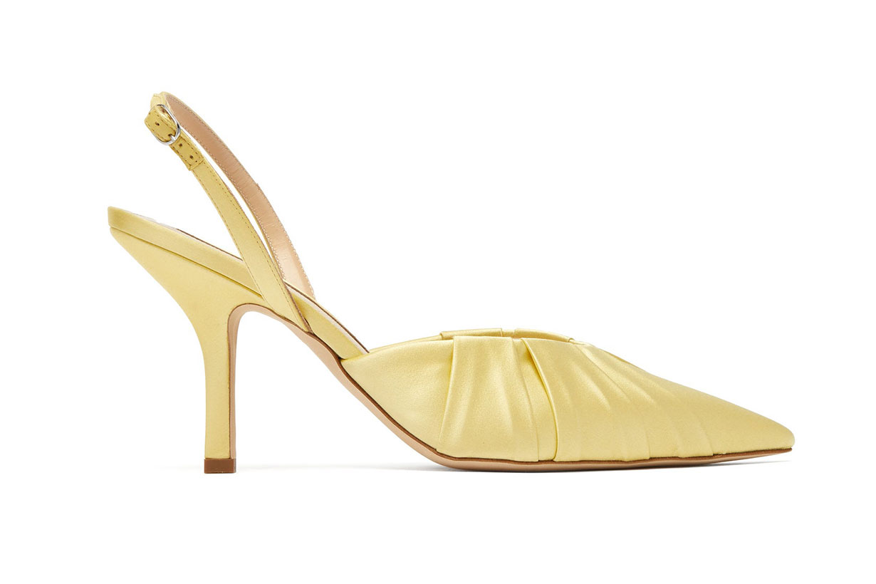 Gathered point-toe satin slingback pumps