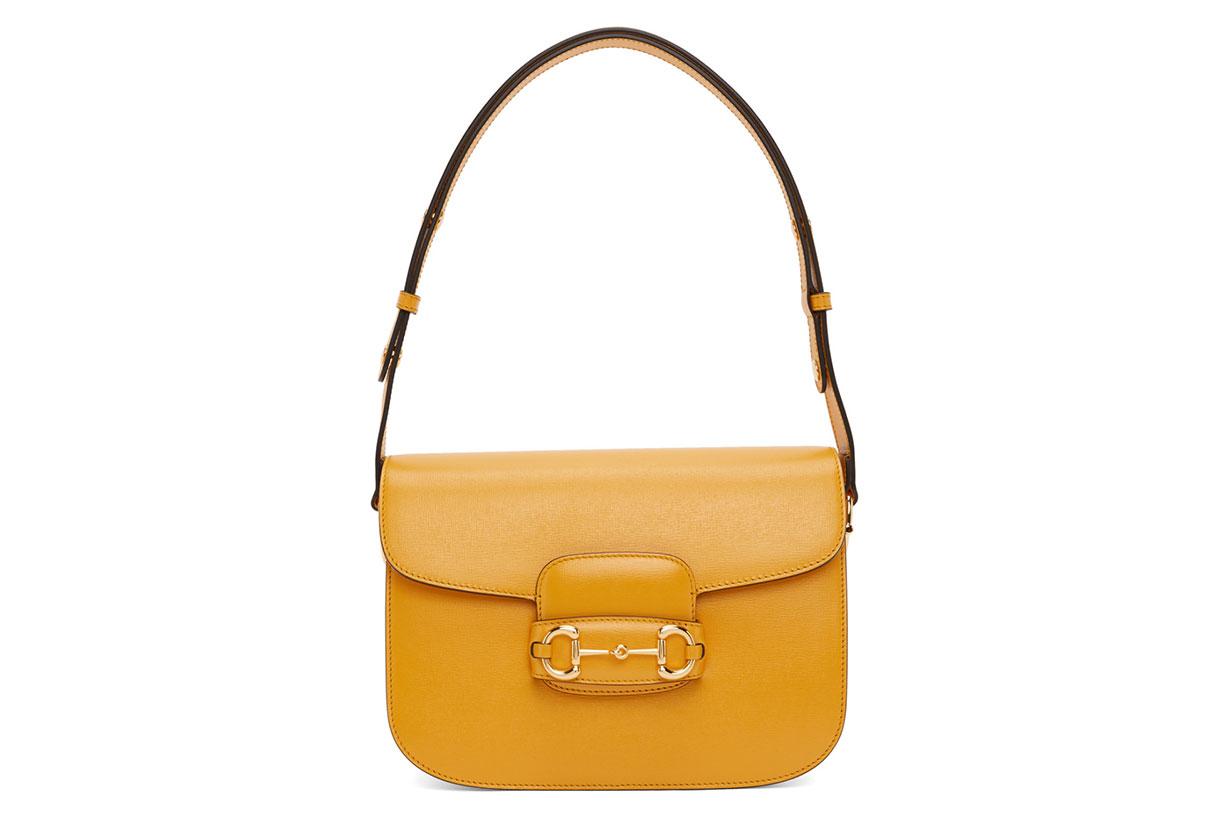 Gucci Yellow 'Gucci 1955' Horsebit Shoulder Bag