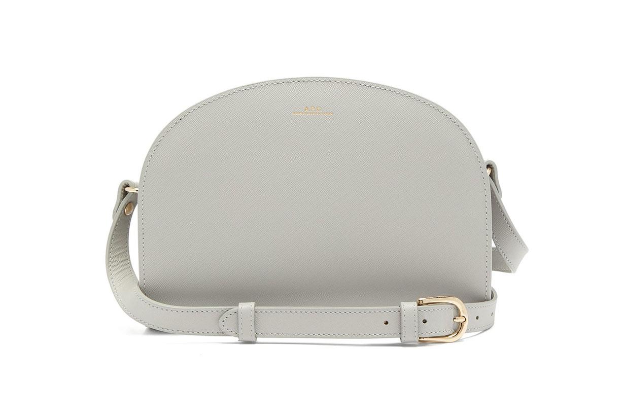 Half-moon saffiano-leather cross-body bag